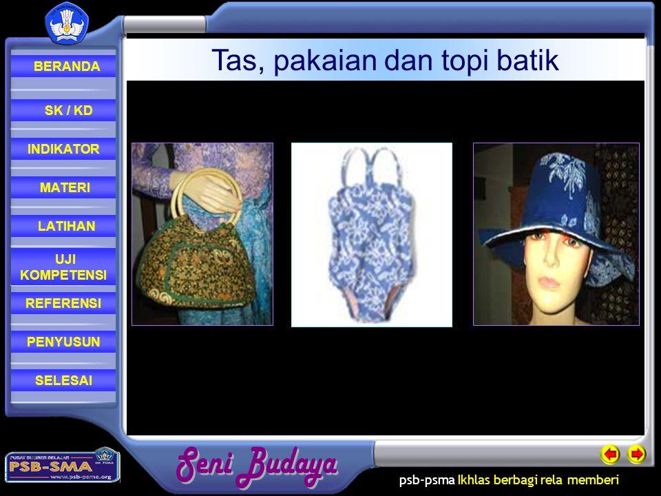 Tas, pakaian dan topi batik