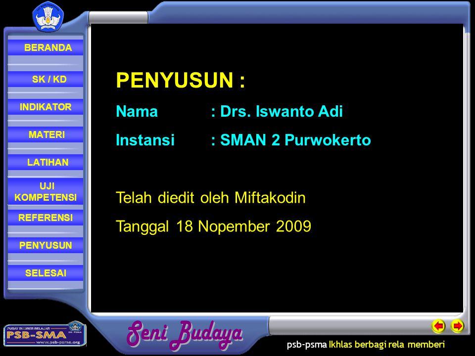 PENYUSUN : Nama : Drs. Iswanto Adi Instansi : SMAN 2 Purwokerto