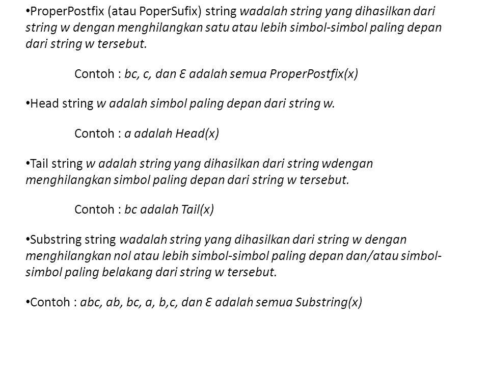 ProperPostfix (atau PoperSufix) string wadalah string yang dihasilkan dari string w dengan menghilangkan satu atau lebih simbol-simbol paling depan dari string w tersebut.