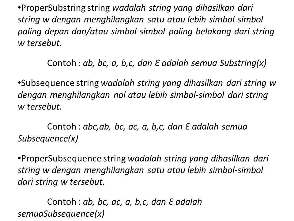 ProperSubstring string wadalah string yang dihasilkan dari string w dengan menghilangkan satu atau lebih simbol-simbol paling depan dan/atau simbol-simbol paling belakang dari string w tersebut.