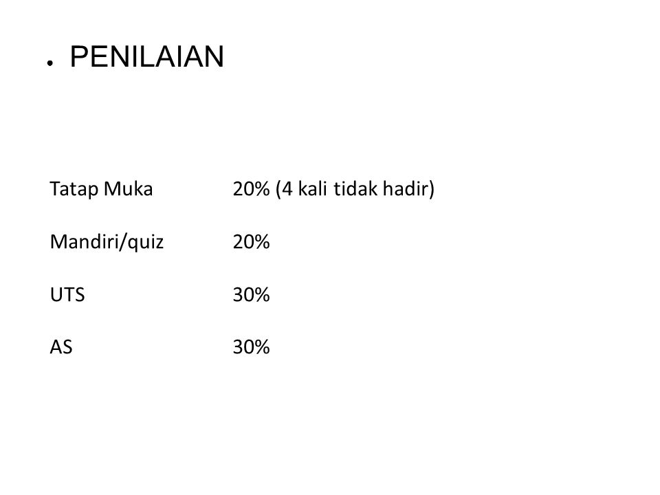 Tatap Muka 20% (4 kali tidak hadir) Mandiri/quiz 20% UTS 30% AS 30%