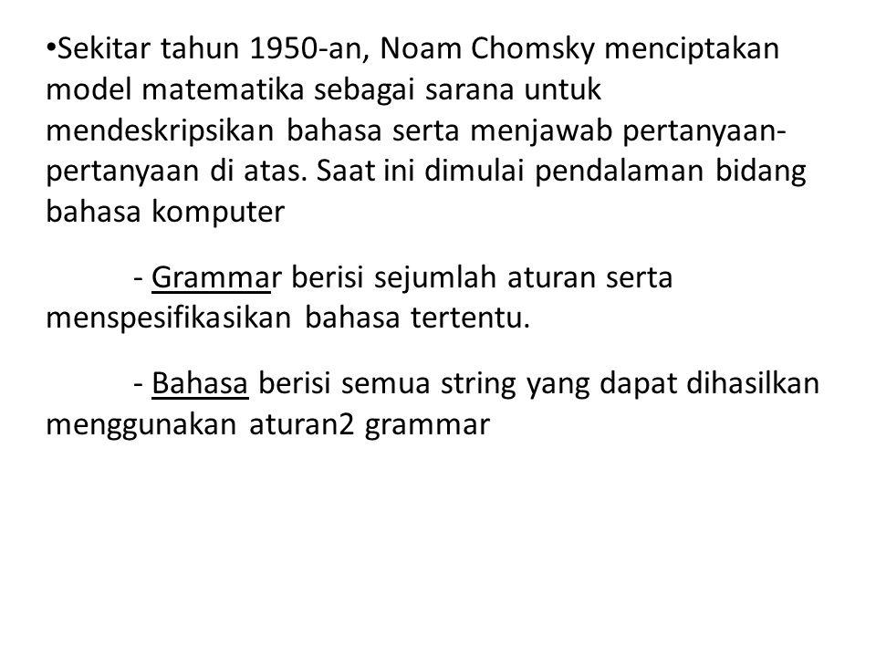 Sekitar tahun 1950-an, Noam Chomsky menciptakan model matematika sebagai sarana untuk mendeskripsikan bahasa serta menjawab pertanyaan- pertanyaan di atas. Saat ini dimulai pendalaman bidang bahasa komputer