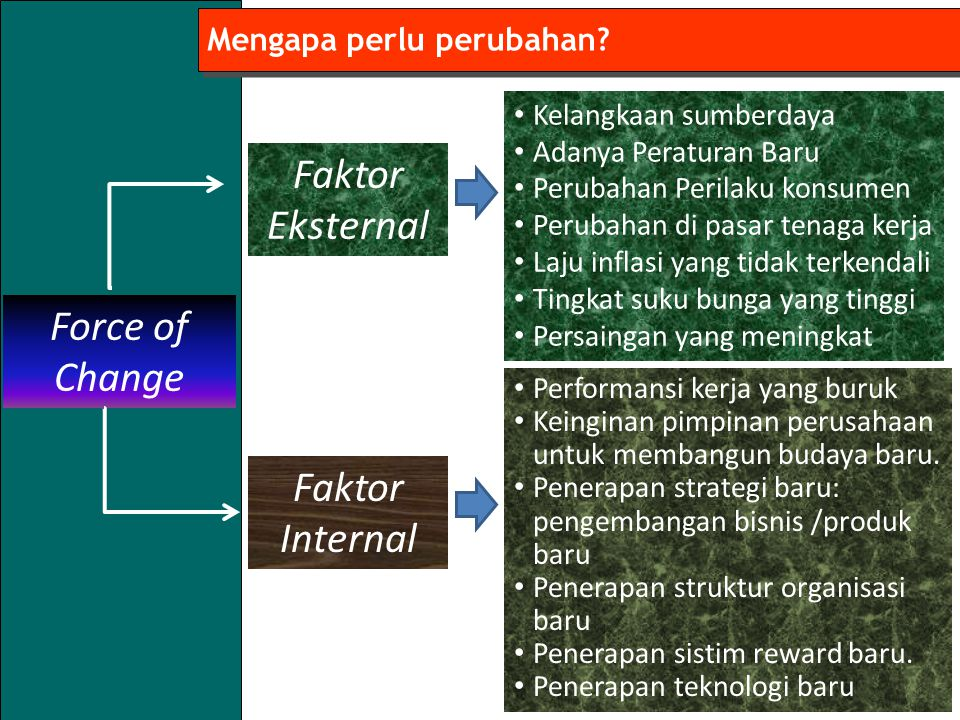 Faktor Eksternal Force of Change Faktor Internal