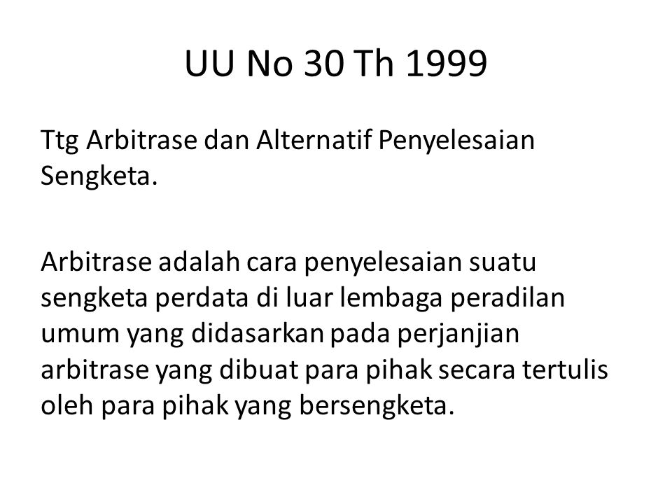 UU No 30 Th 1999