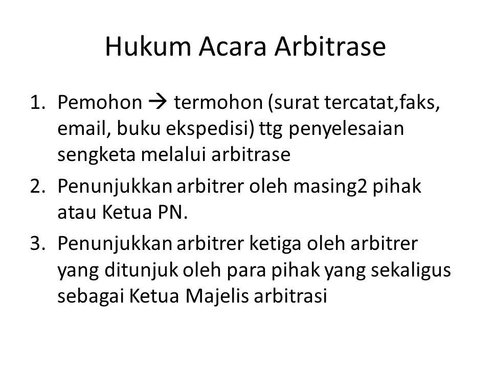 Hukum Acara Arbitrase Pemohon  termohon (surat tercatat,faks, email, buku ekspedisi) ttg penyelesaian sengketa melalui arbitrase.