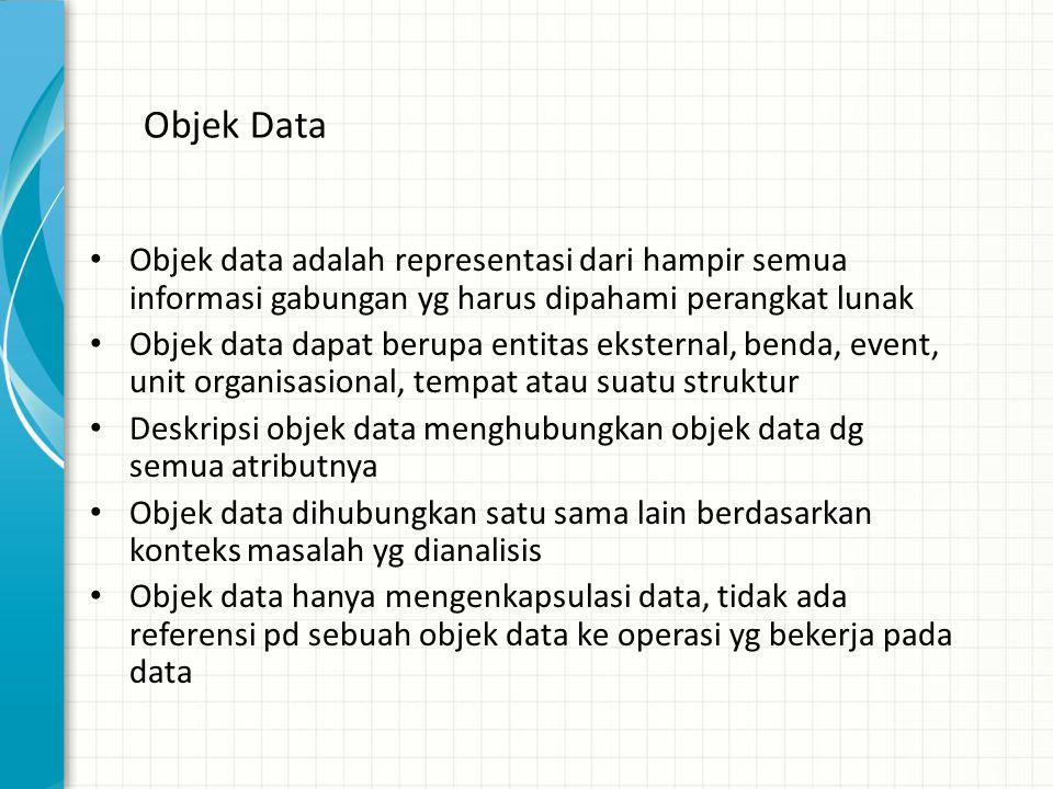 Objek Data Objek data adalah representasi dari hampir semua informasi gabungan yg harus dipahami perangkat lunak.