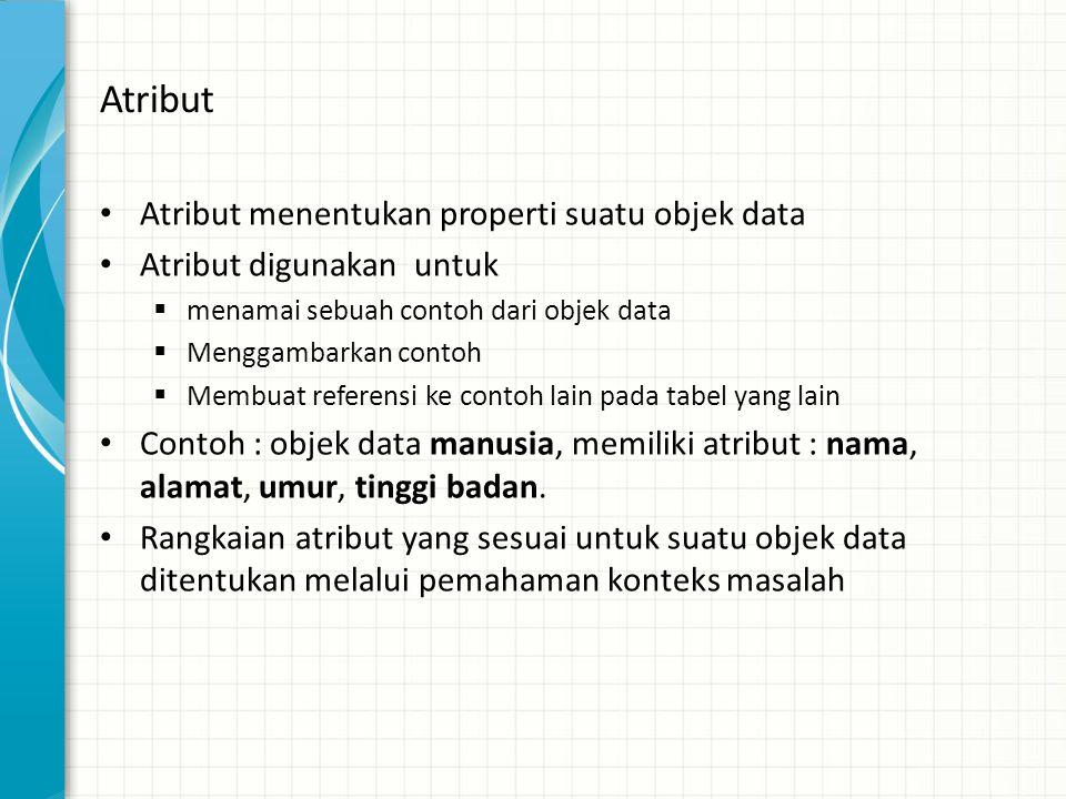 Atribut Atribut menentukan properti suatu objek data