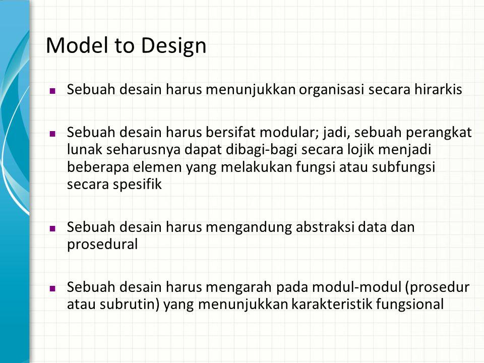 Model to Design Sebuah desain harus menunjukkan organisasi secara hirarkis.