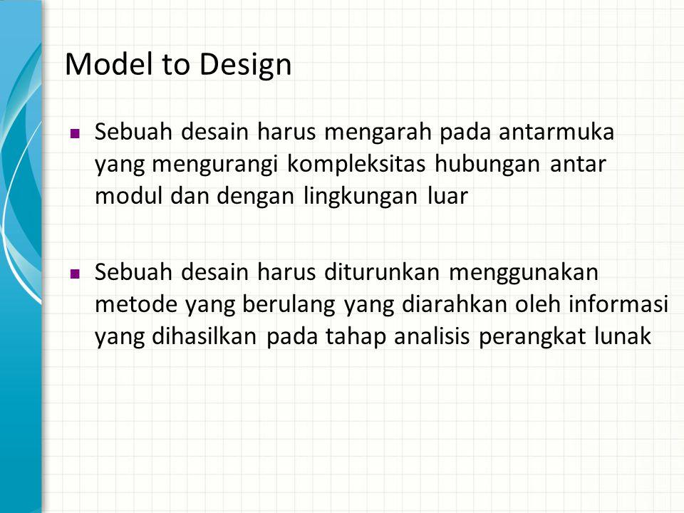 Model to Design Sebuah desain harus mengarah pada antarmuka yang mengurangi kompleksitas hubungan antar modul dan dengan lingkungan luar.