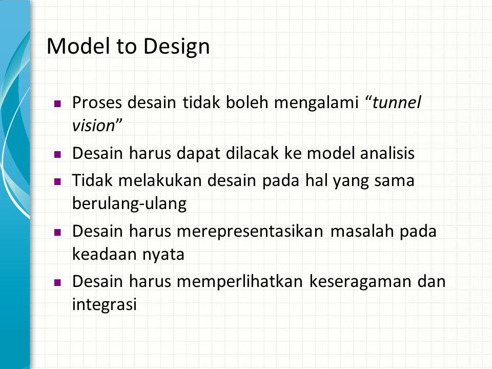 Model to Design Proses desain tidak boleh mengalami tunnel vision