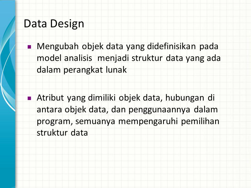 Data Design Mengubah objek data yang didefinisikan pada model analisis menjadi struktur data yang ada dalam perangkat lunak.
