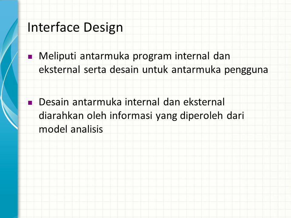 Interface Design Meliputi antarmuka program internal dan eksternal serta desain untuk antarmuka pengguna.