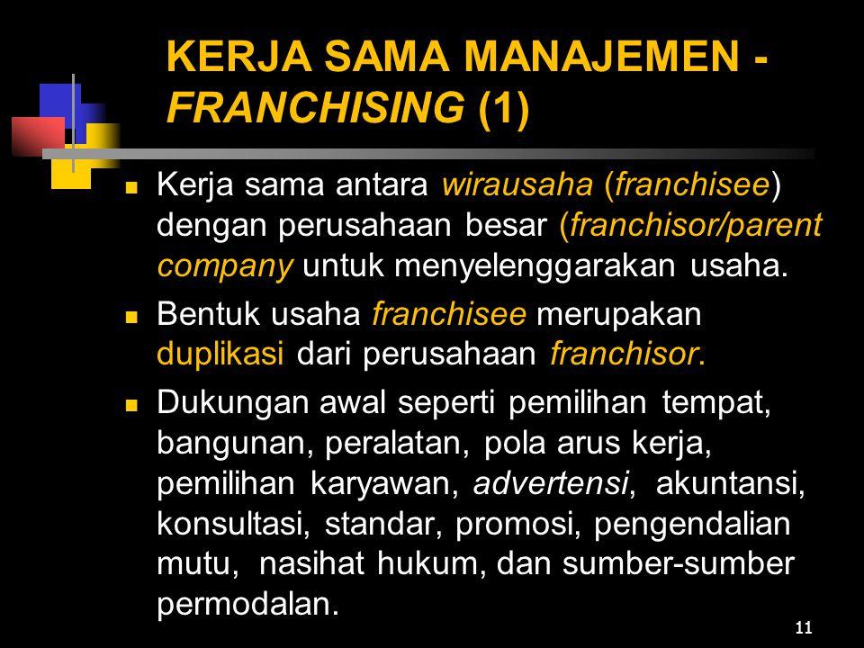 KERJA SAMA MANAJEMEN -FRANCHISING (1)