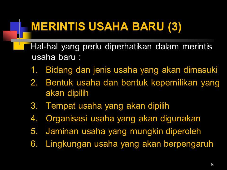 MERINTIS USAHA BARU (3) Hal-hal yang perlu diperhatikan dalam merintis usaha baru : Bidang dan jenis usaha yang akan dimasuki.