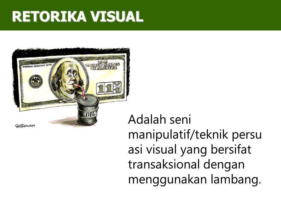 RETORIKA VISUAL Adalah seni manipulatif/teknik persuasi visual yang bersifat transaksional dengan menggunakan lambang.