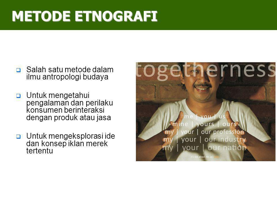 METODE ETNOGRAFI Salah satu metode dalam ilmu antropologi budaya