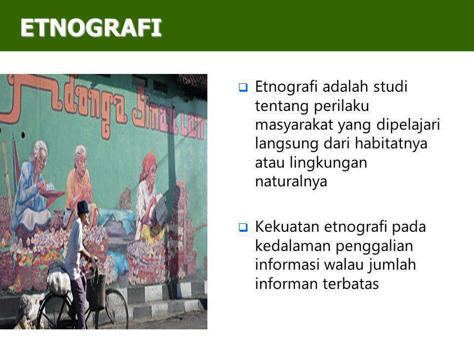 ETNOGRAFI Etnografi adalah studi tentang perilaku masyarakat yang dipelajari langsung dari habitatnya atau lingkungan naturalnya.