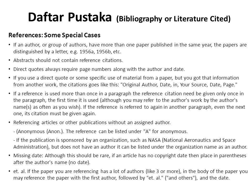 Daftar Pustaka (Bibliography or Literature Cited)