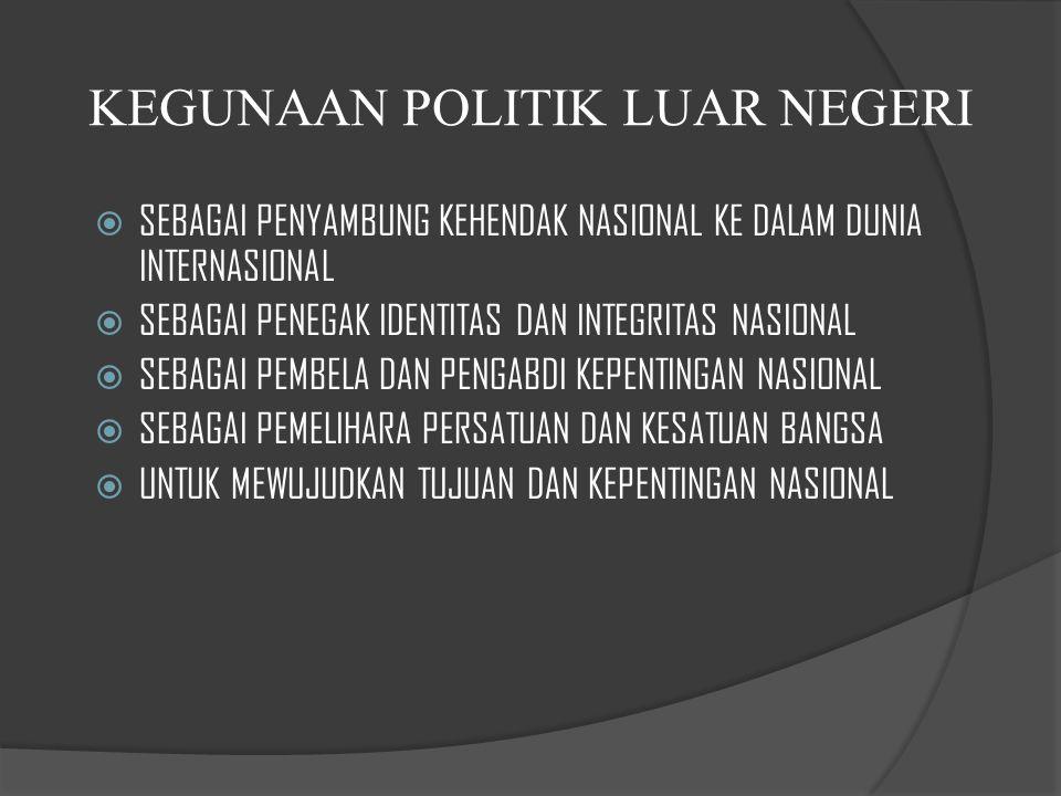 KEGUNAAN POLITIK LUAR NEGERI