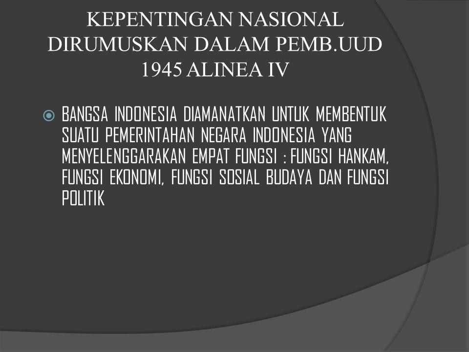 KEPENTINGAN NASIONAL DIRUMUSKAN DALAM PEMB.UUD 1945 ALINEA IV