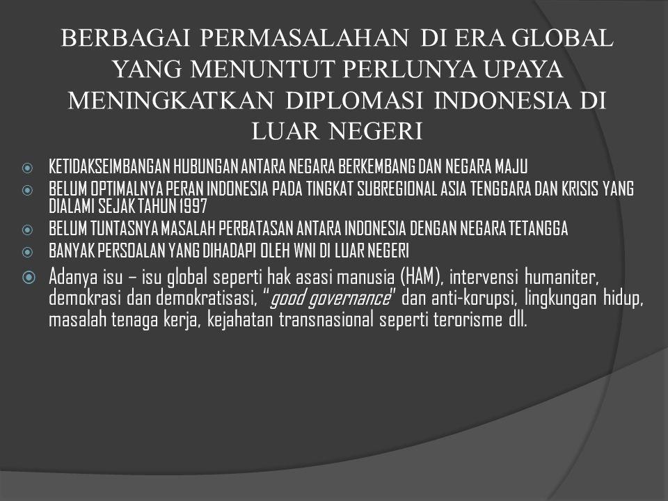 BERBAGAI PERMASALAHAN DI ERA GLOBAL YANG MENUNTUT PERLUNYA UPAYA MENINGKATKAN DIPLOMASI INDONESIA DI LUAR NEGERI
