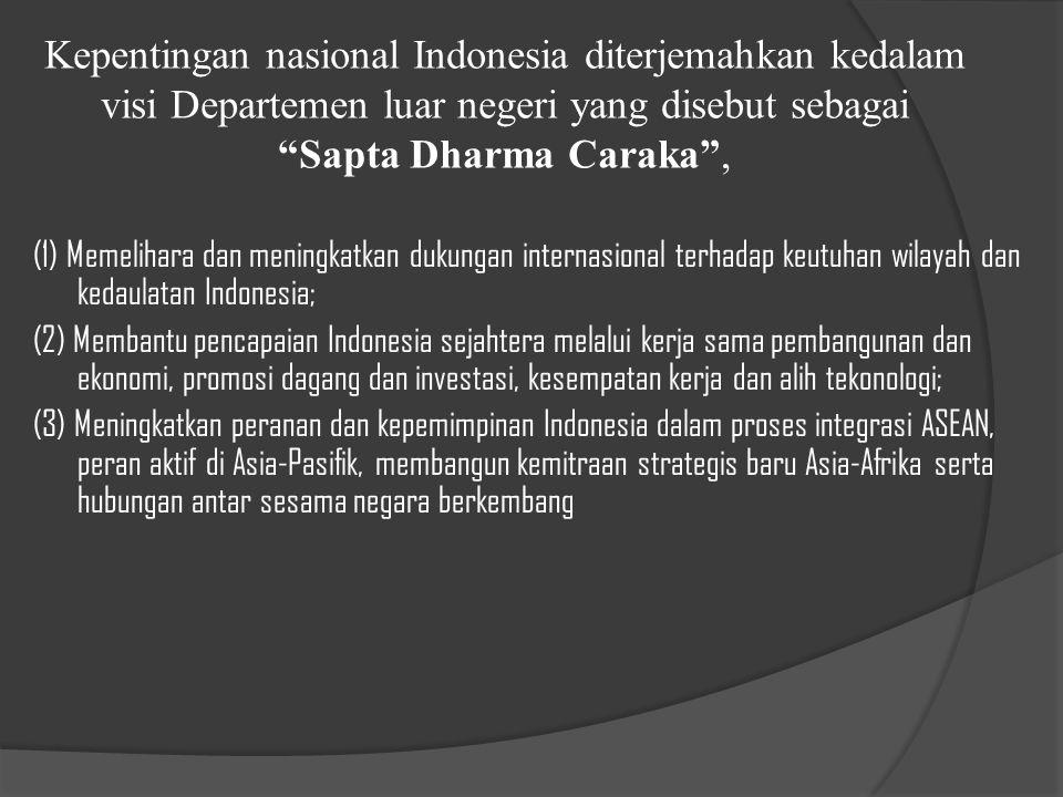 Kepentingan nasional Indonesia diterjemahkan kedalam visi Departemen luar negeri yang disebut sebagai Sapta Dharma Caraka ,
