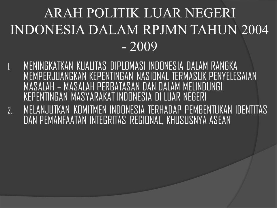 ARAH POLITIK LUAR NEGERI INDONESIA DALAM RPJMN TAHUN 2004 - 2009