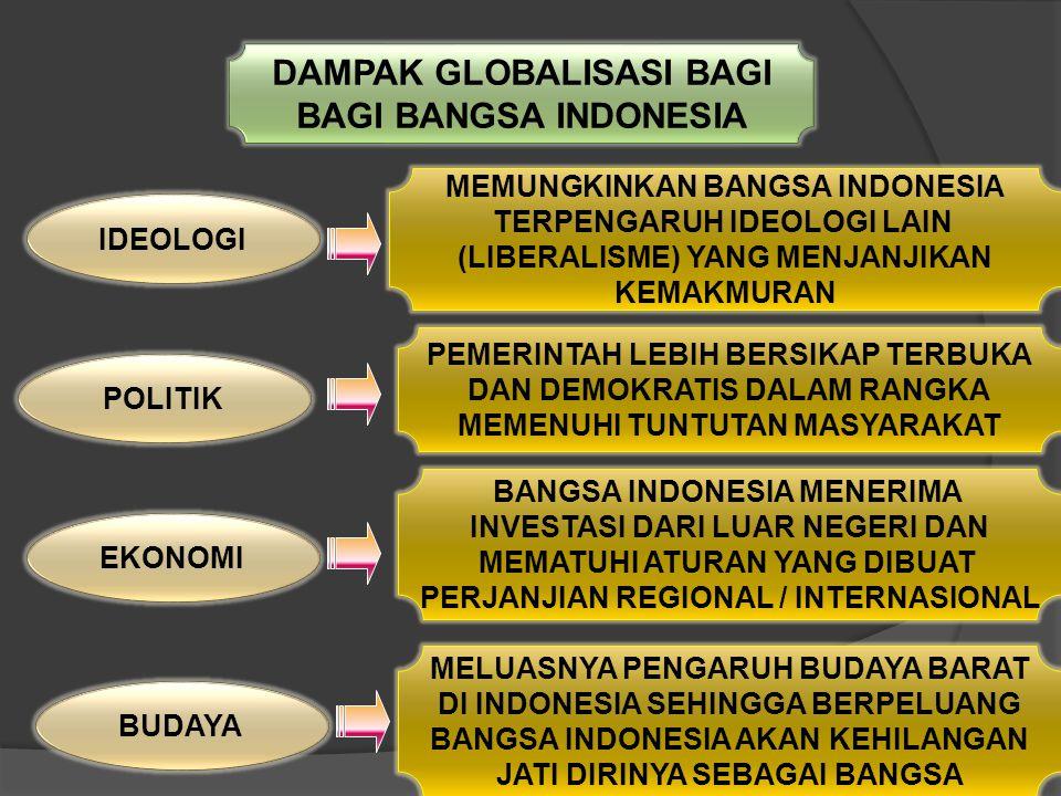 DAMPAK GLOBALISASI BAGI BAGI BANGSA INDONESIA
