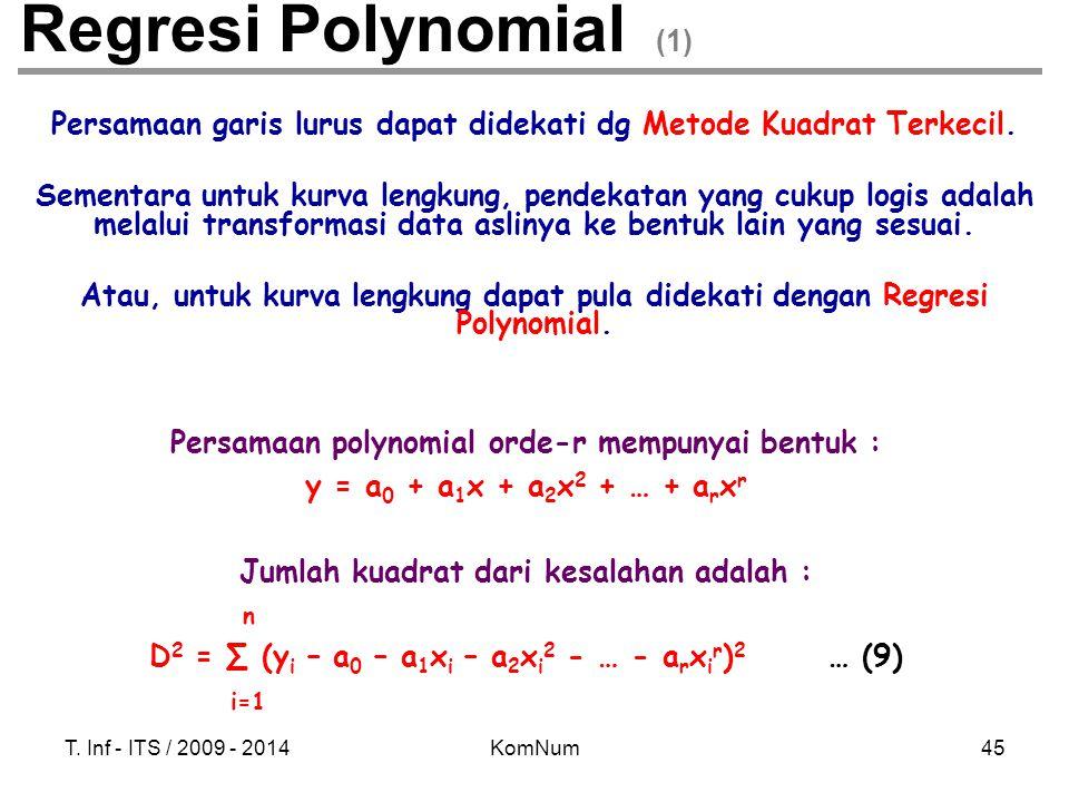Regresi Polynomial (1) Persamaan garis lurus dapat didekati dg Metode Kuadrat Terkecil.