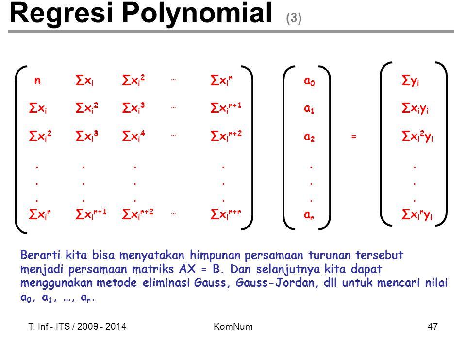 Regresi Polynomial (3) n ∑xi ∑xi2 … ∑xir a0 ∑yi