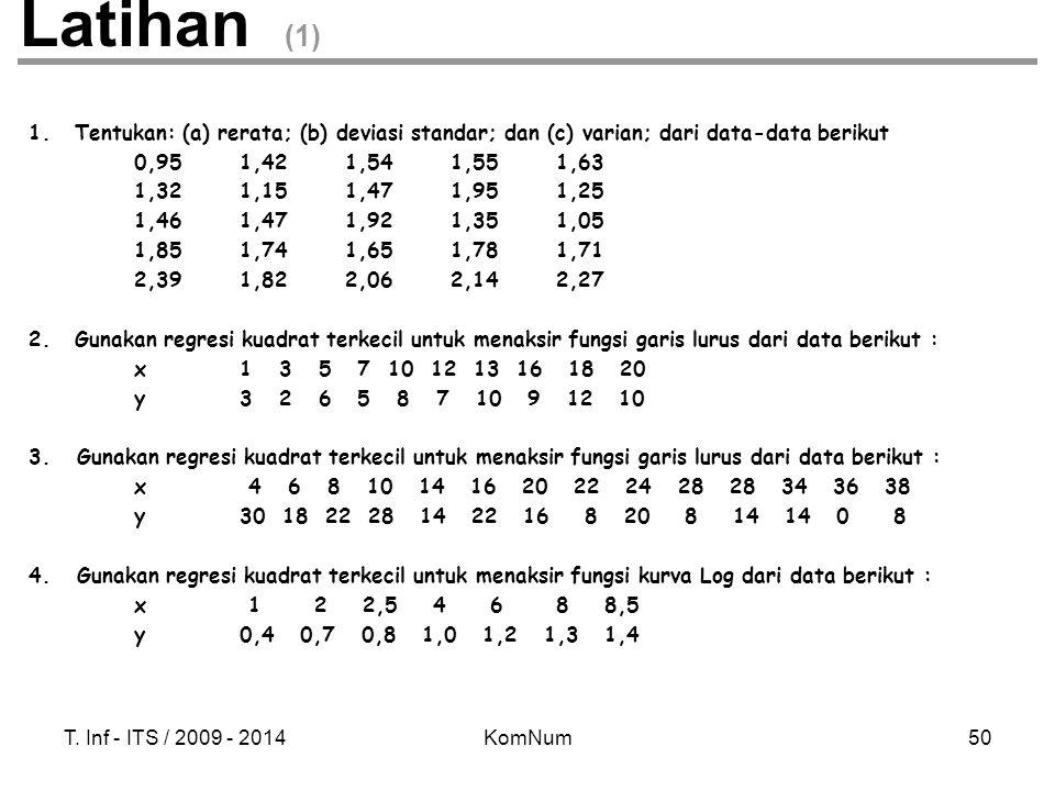 Latihan (1) Tentukan: (a) rerata; (b) deviasi standar; dan (c) varian; dari data-data berikut. 0,95 1,42 1,54 1,55 1,63.