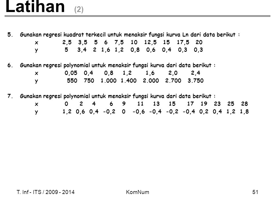 Latihan (2) 5. Gunakan regresi kuadrat terkecil untuk menaksir fungsi kurva Ln dari data berikut :