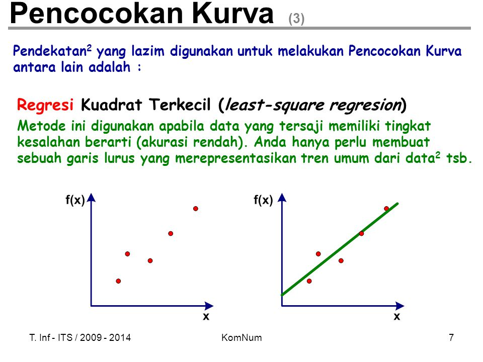 Pencocokan Kurva (3) Regresi Kuadrat Terkecil (least-square regresion)