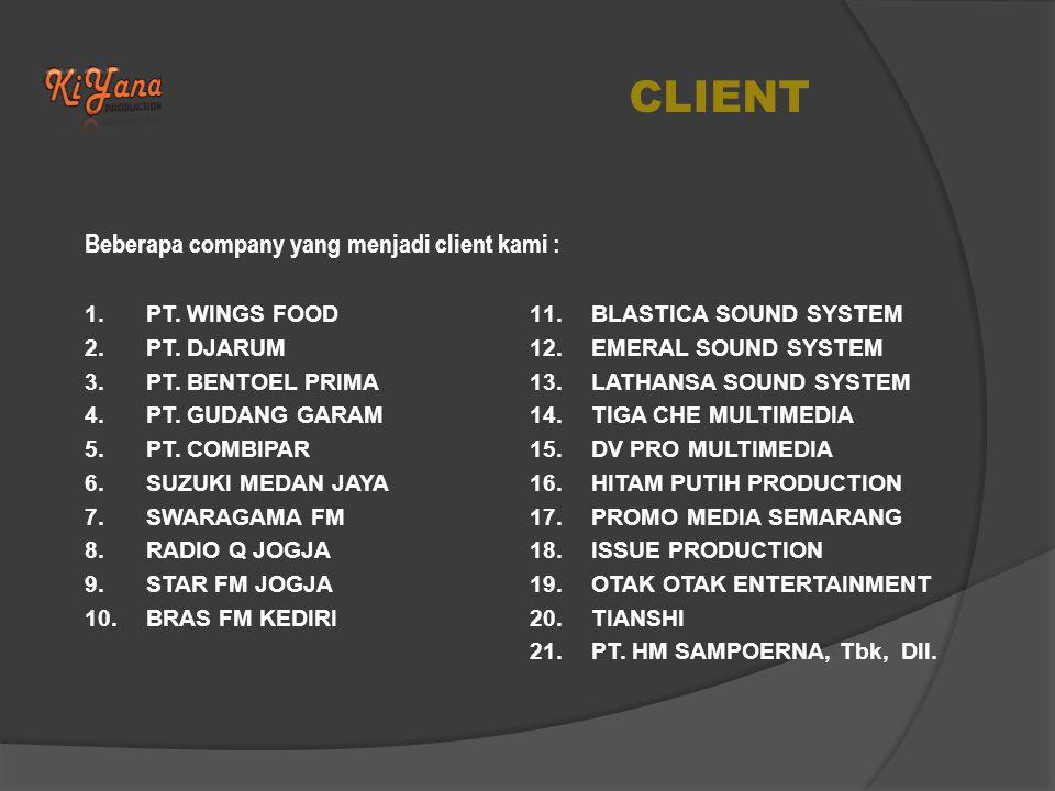 CLIENT Beberapa company yang menjadi client kami : PT. WINGS FOOD