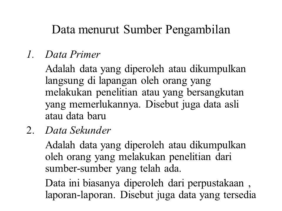 Data menurut Sumber Pengambilan