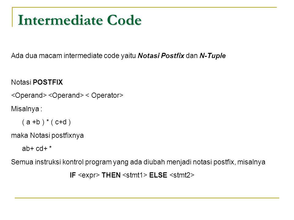 Intermediate Code Ada dua macam intermediate code yaitu Notasi Postfix dan N-Tuple. Notasi POSTFIX.