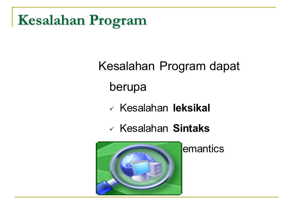 Kesalahan Program Kesalahan Program dapat berupa Kesalahan leksikal