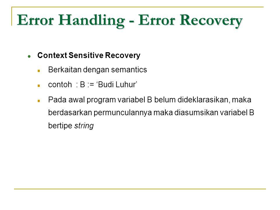 Error Handling - Error Recovery