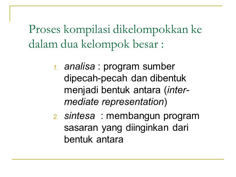 Proses kompilasi dikelompokkan ke dalam dua kelompok besar :