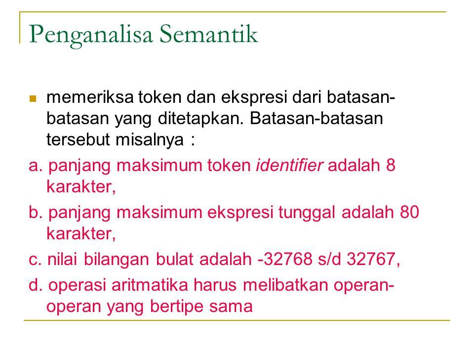 Penganalisa Semantik memeriksa token dan ekspresi dari batasan-batasan yang ditetapkan. Batasan-batasan tersebut misalnya :