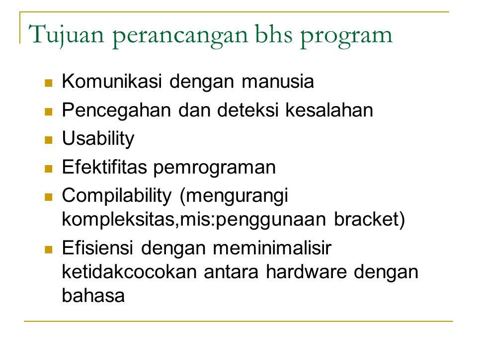 Tujuan perancangan bhs program