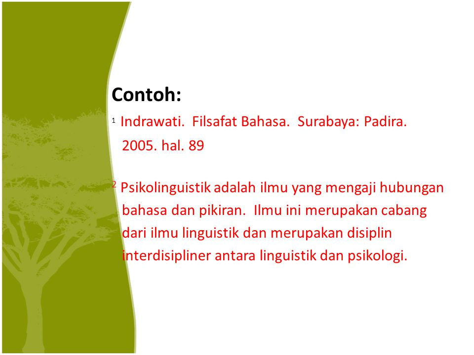Contoh: 1 Indrawati. Filsafat Bahasa. Surabaya: Padira.
