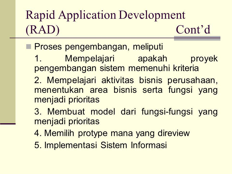 Rapid Application Development (RAD) Cont'd