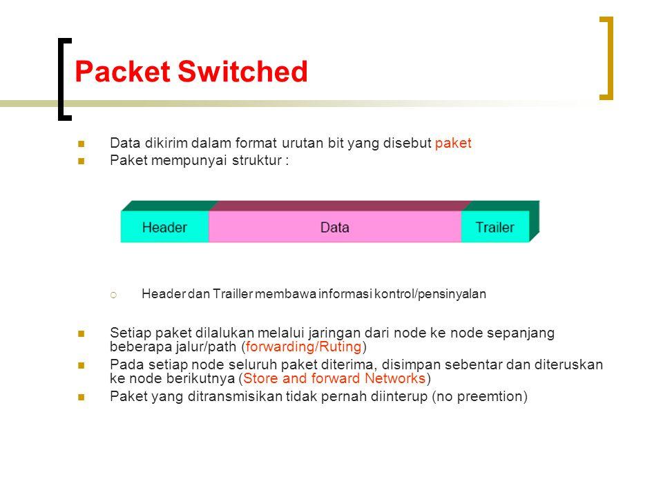 Packet Switched Data dikirim dalam format urutan bit yang disebut paket. Paket mempunyai struktur :