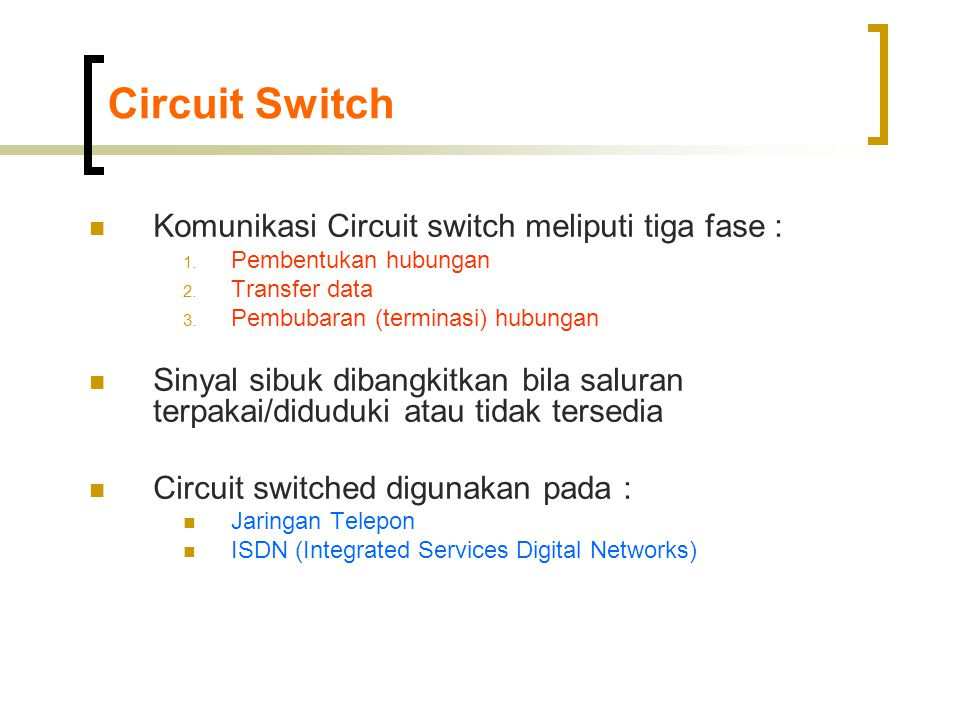Circuit Switch Komunikasi Circuit switch meliputi tiga fase :