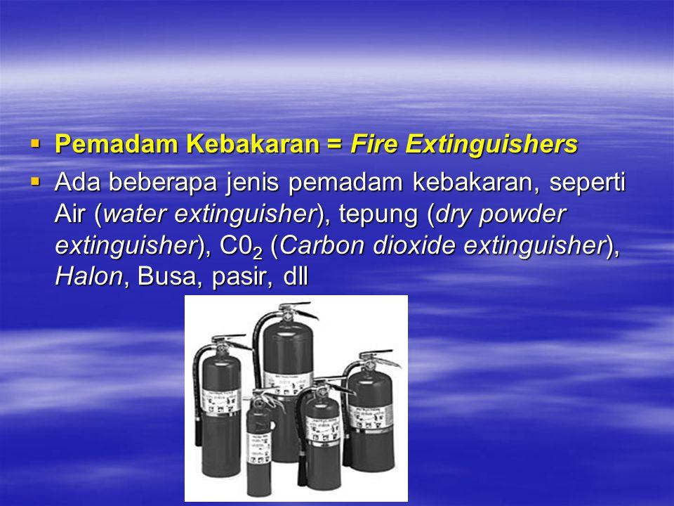 Pemadam Kebakaran = Fire Extinguishers