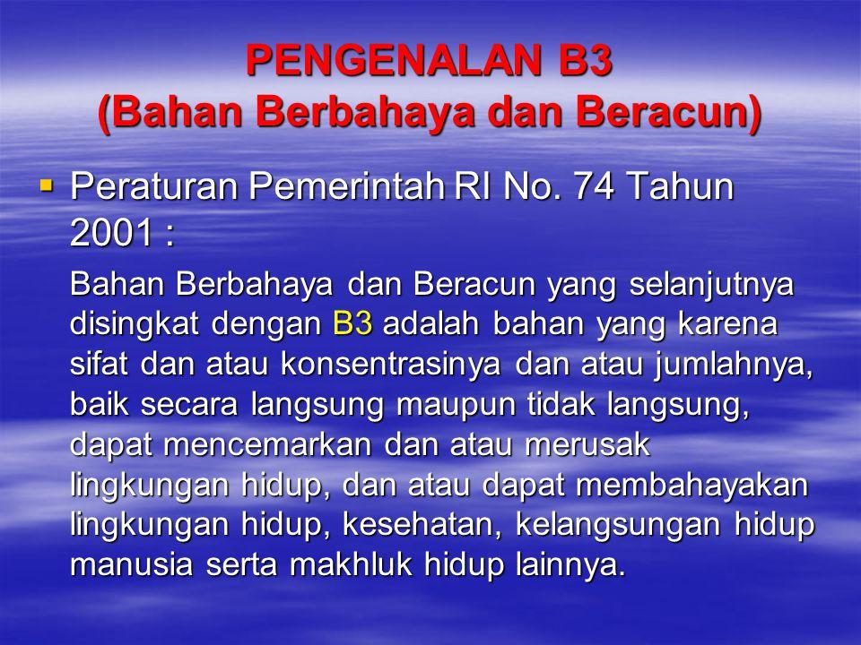 PENGENALAN B3 (Bahan Berbahaya dan Beracun)