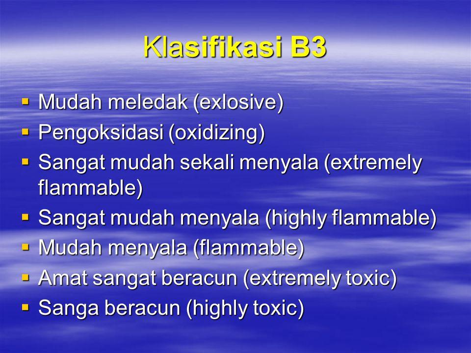 Klasifikasi B3 Mudah meledak (exlosive) Pengoksidasi (oxidizing)