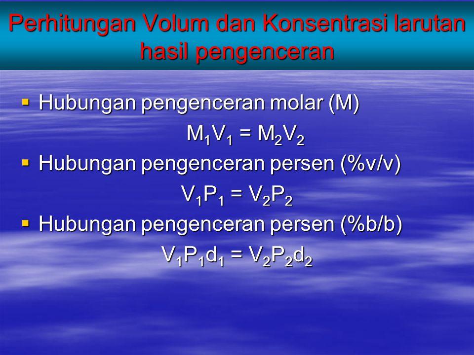 Perhitungan Volum dan Konsentrasi larutan hasil pengenceran