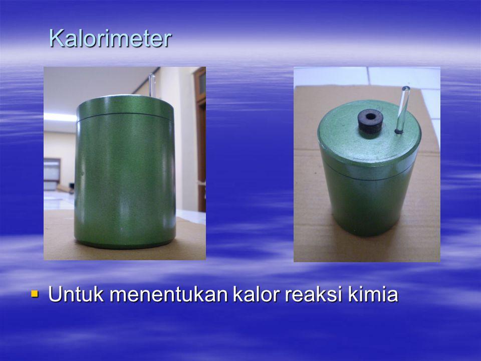 Kalorimeter Untuk menentukan kalor reaksi kimia